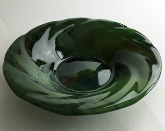 Fused Glass Wavy Bowl of Olive Green Opalescent and Forest Green Bullseye Glass