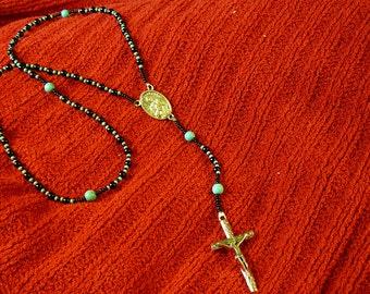 Native American Black Onyx & Turquoise Saint Tekawitha Rosary