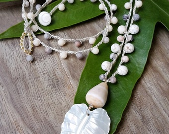 Long Layering Crochet Necklace, Plant Lover Tropical Leaf Jewelry, Hawaii Cone Shell, Beach Boho, Botanical Nature Inspired Gift, Layering