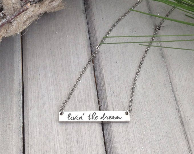 Handwritten Bar Necklace - NO TARNISH Stainless Steel - Actual Handwriting or Font Text - Free Spirit - Custom Laser Engraved Necklace -