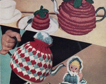 Vintage Crochet and Knitting Patterns, Tea Cosies and Egg Cosies, 4 pages, 1940s, Instant pdf Download, Digital download