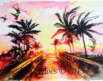 Florida Sunset Beach Travel Art Print from Original Watercolor - Lana Moes' Illustration - Wanderlust Romantic Painting - Beach Decor