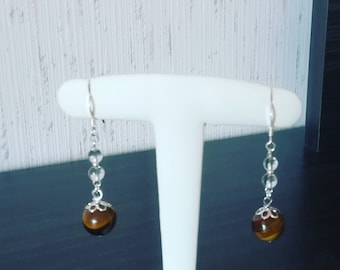 Earrings in 925 sterling silver, rock crystal and Tiger eye beads