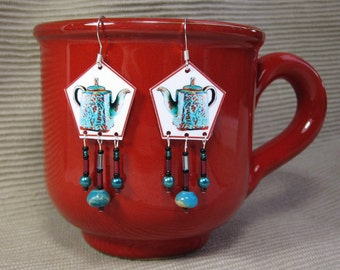 Turquoise Red Teapot Dangle Earring