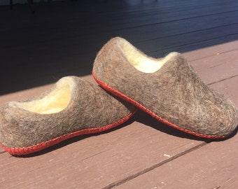 Little kids size 12/13 wool slippers with red suede soles