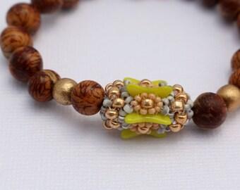 Chartreuse Bracelet, Beaded Bracelet, Acai Bracelet, Boho Bracelet, Stretch Bracelet