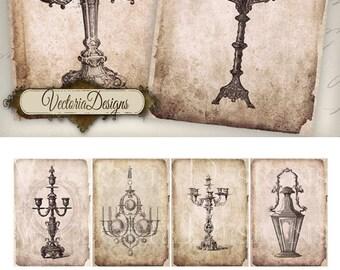 Grunge Candles atc digital background instant download printable images collage sheet VD0433