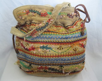 Multi Colored Embroidered Canvas Lucky Brand Bag