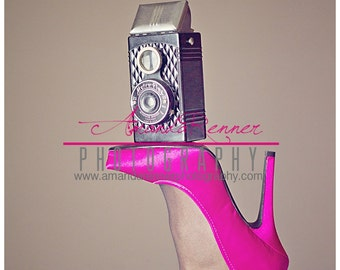 Fine Art Photography - 12x18 Canvas Gallery Wrap - Metro vintage camera on hot pink high heel