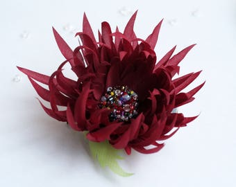 Brooch, Hairpin, Brooch-hairpin, FREE SHIPPING, Textile flower, Red, Green, Beads