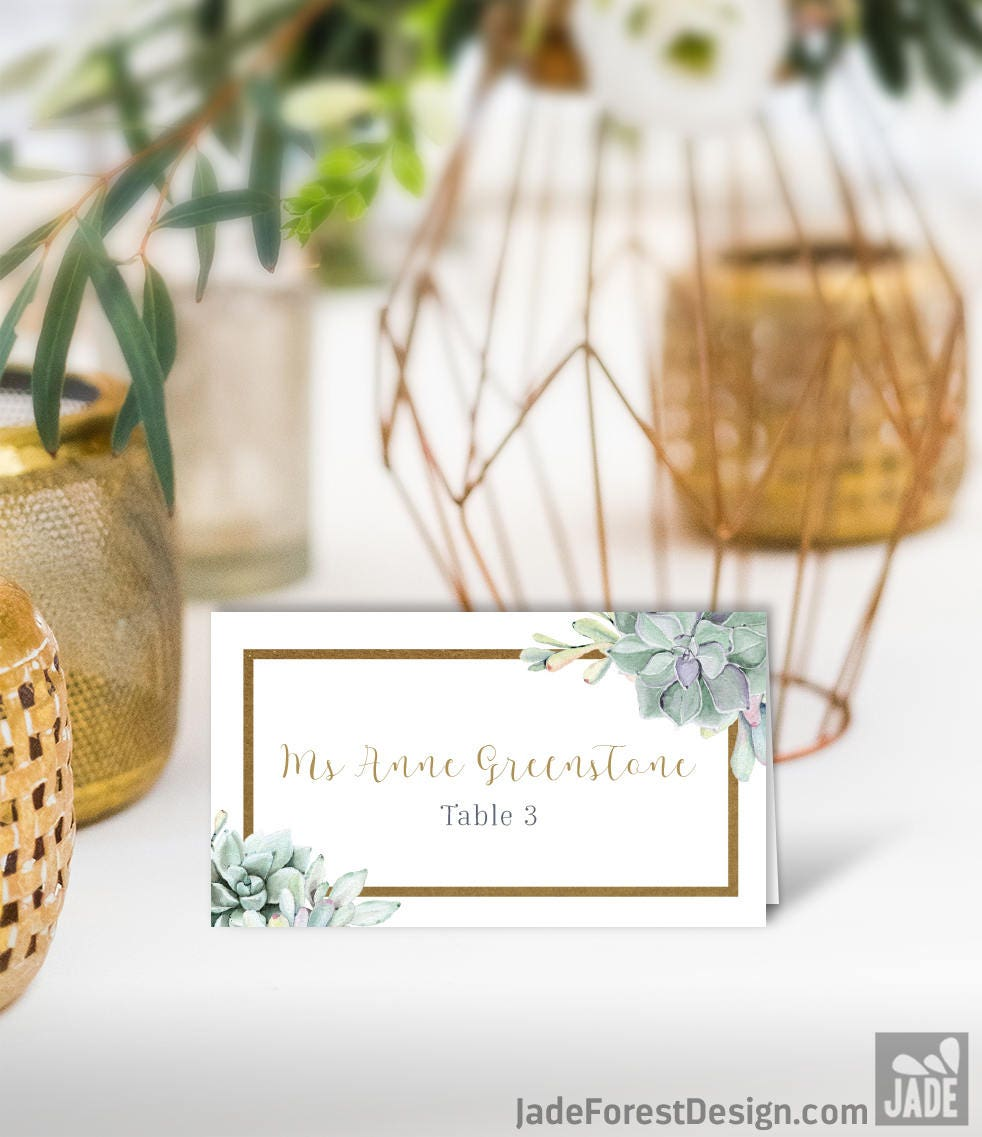 Succulent Wedding Place Cards / Greenery and Gold Geometric / Green ...