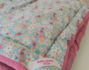 "Plaid baby-Liberty pink double gauze - 100 cm x 100 cm - 100% cotton oeko-tex - ""Rose"""