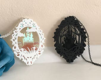 Layered Castle Cameo Necklaces