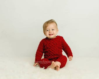 Sitter Size Rompers,  Christmas Outfit, Christmas Romper, Red Outfit, Photo Prop