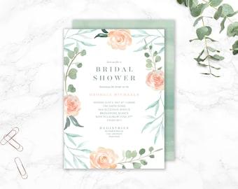 Blush + Sage Floral Bridal Shower Invitation