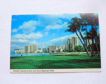 Waikiki's Hotels Hawaii Postcard  / Waikiki Postcard / Vintage Hotel Postcard / Continental Card of Hawaii