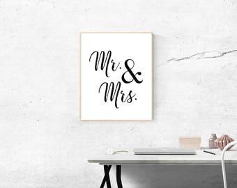 Mr and Mrs. Typography Print, Wedding Gift, Wedding Art, Couples Gift, Love Poster, Black and White Digital Art, Wedding Print, Home Print