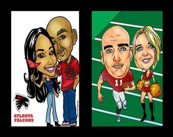 Custom Sports Fan Cartoon Caricature Gift Photo Portrait, Football Cartoon, Basketball Custom Caricature, Baseball Personalized Cartoon art