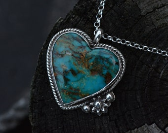 Turquoise Necklace, Kingman Turquoise Necklace, Kingman Turquoise, Turquoise, Heart Turquoise, Heart Necklace, Gemstone Heart, Silver