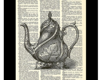 Victorian Tea Pot  Vintage Etching - Dictionary Page Art