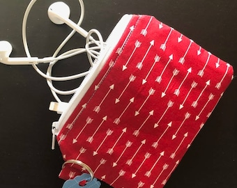 zippered pouch, pouch, coin purse, red, arrows, credit card holder