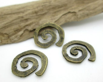 Antiqued Brass Swirl Connector Bead or Pendant, Hammered Brass Bead, Spiral Connector 20mm (1)