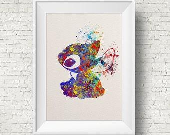 Stitch, Lilo & Stitch disney - watercolor, Art Print, Giclee, Watercolor Print, poster, Home Decor, kids art