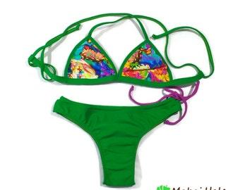 Bralette bikini set - Bralette bathing suit - Green bathing suit - Cross back bikini top - Brazilian Bikini Set - Cheeky bikini bottom