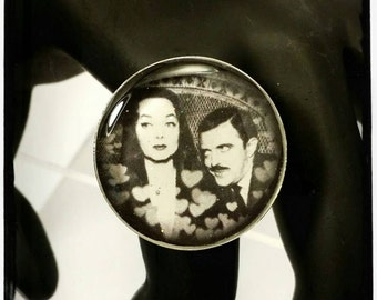 Vintage Gomez and Morticia Addams Adjustable Ring