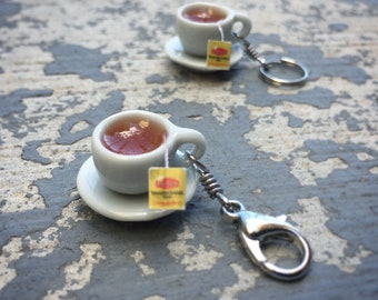Tea Break: Individual Tea Cup with Saucer and Tea Bag Stitch Marker for Knitters & Crocheters