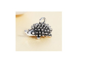 breloque hérisson 3D animal argenté / animal lover - hedgehog (animal - hedgehog silver - B17)