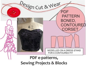 Corset Pattern Blocks -PDF- Download Immediately Size 10 to 18 (UK) - Contour Fitted Bustier Block Pattern- Includes a Guide to Boning