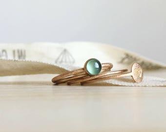 tiny rings set in 18k red gold - handmade tiny gold rings - RINGS KIT