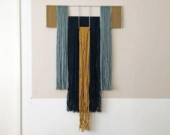macrame wall hanging with metal grid | geometric tapestry | contemporary fiber art | wool yarn | blue, ochre, mustard | colorful wall art