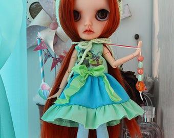 Set of clothes for dolls Blythe ooak custom blythe handmade