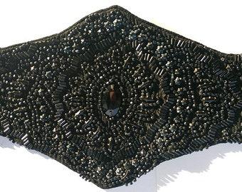 Gothic 20s Black Glass Beaded Flapper Headband or Sash Belt