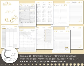 Baroque 2018 Baroque Full Printable Planner. Week on 2 pages spreads. Month on 2 pages spreads. U.S. letter size (8.5x11 inches)