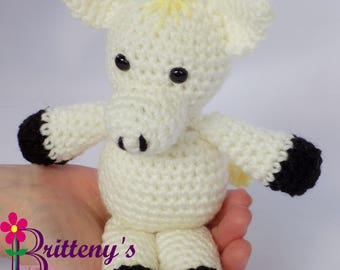 Horse Stuffed Animal  White Horse Stuffed Animal  Crochet White Horse Stuffed Animal  Crochet Horse Plush Toy  Crochet White Horse Pal