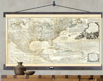"Map of North America. Hanging or Pull Down Map. 60""h x 44""w,  Old School Chart,  Vintage Wall Map,  Antique wall map,  Pull Down Map 1775"