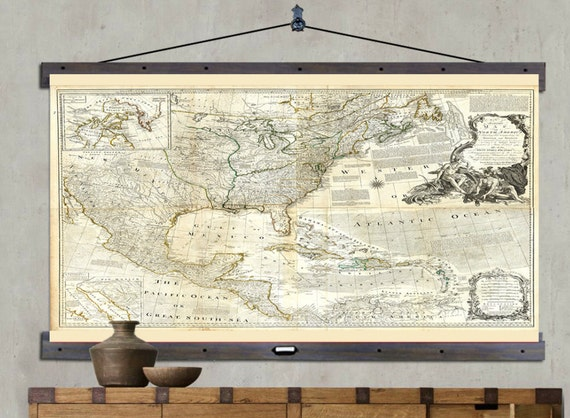 Map of north america hanging or pull down map 60h x like this item gumiabroncs Images