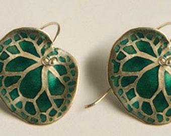 Silver & Enamel Earrings , Green Begonia Leaf earrings , Botanical Jewelry , Green Leaf Earrings
