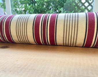 """Door Window Draft Stopper 38"""" CedarFilled Insect Repellent, Breeze Blocker, Draftstopper, Door Snake, Burgundy Tan Stripe, Decorative"""