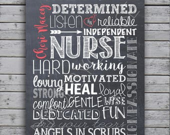 Nurse Chalkboard Art -Card Stock or Canvas Print