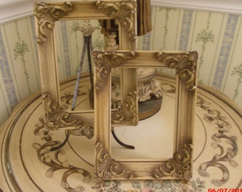 Vintage Pair French Provincial Carved Ornate Picture Frames