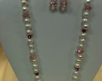 Handcrafted pearls and pink swavorski crytstal necklace and earrings set