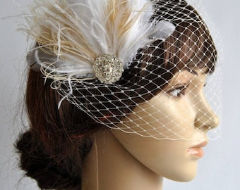 1920s Rhinestone head piece , Bridal Ivory Champagne Feather Fascinator,1920s Headpiece Bridal fascinator Wedding birdcage Veil set