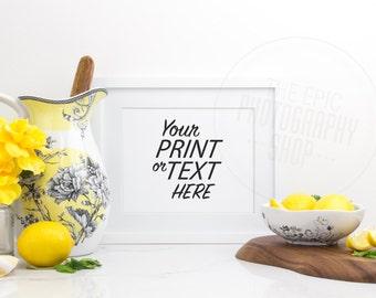 Print Background / Blank Frame / Styled Stock Photography / Product Photography / Staged Photography / Yellow Fruit Health / Kitchen / K015