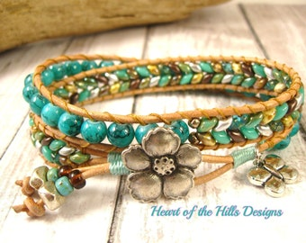 Turquoise Double Wrap Leather Bracelet with Herrringbone Pattern, Antique Silver Blossom Button and Butterfly Charm
