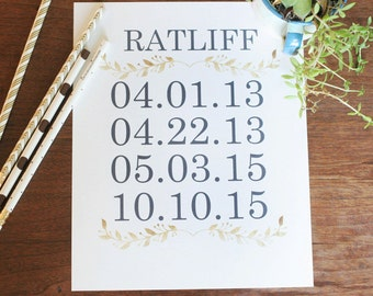 Family Birthdates, Couple Special Dates, Birthday Sign, Art Print, Black, Gold Foil Effect, PERSONALIZED, Printable Wall Art
