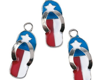 Red White and Blue Flip Flop Charms, 11mm x 23mm, pack of 12 by Homestead Crafter